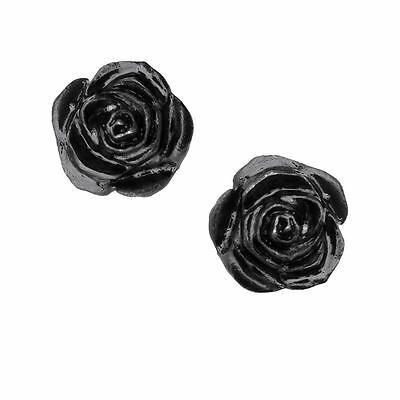Alchemy Gothic Black Rose Studs Pewter Pair of Earrings BRAND NEW