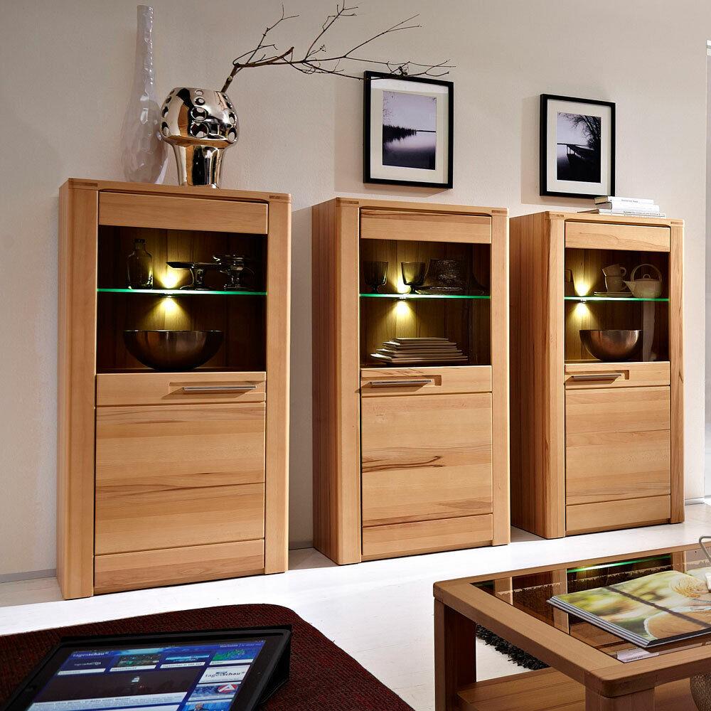 Vitrinen 3er-Set FKernbuche massiv Front LED Standvitrinen Wohnzimmer Schränke