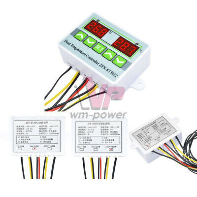 1224220v Zfx-st3012 Dual Digital Temperature Controller 10a Thermostat Switch