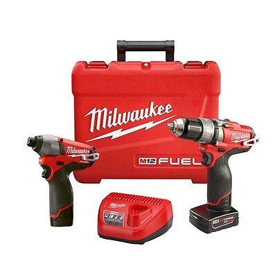 Milwaukee 2597-22 M12 12V M12 Fuel 2 Tool Combo Kit (Hammer Drill Impact Driver)
