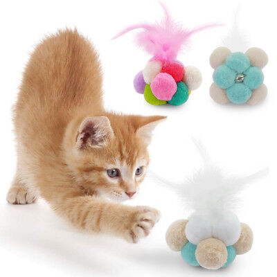 Cat Feather Natural (Interactive Kitten Feather Toys Cat Ball Toy Natural Catnip Kitty Catch)