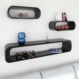 Cube Wall Shelf Black 3 Pieces Set Floating Wall Mount Shelving Unit