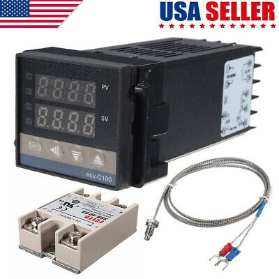 Ac100-240v Pid Rex-c100 Temperature Controller Ssr-40a Thermocouple Heat Sink Us