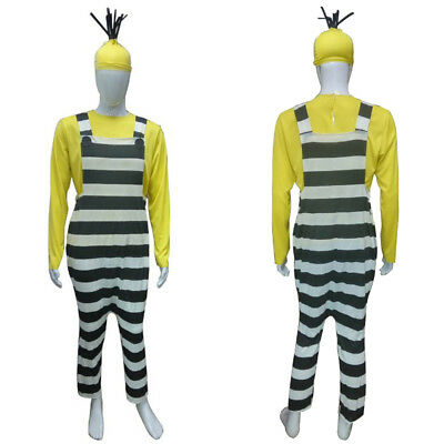 Minion Costumes For Men (Men's Shirt Jumpsuit Cosplay Despicable Me 3 Jailed Minions Kevin Costume)