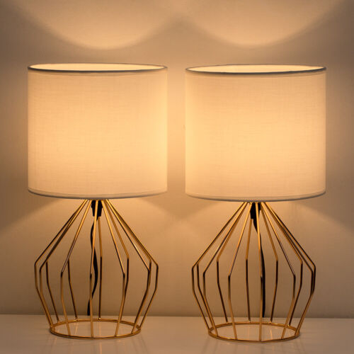 Set of 2 Table Lamps with Hollowed Out Gold Metal Base Linen