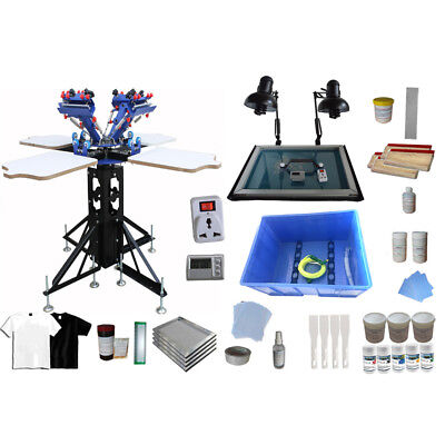 4 Color 4 Station T-shirt Printing Kit Silk Screen Equipment Press Ink Squeegee