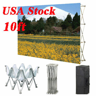 10ft Pop Up Tension Fabric Display Backdrop Trade Show Exhibition Booth Graphic