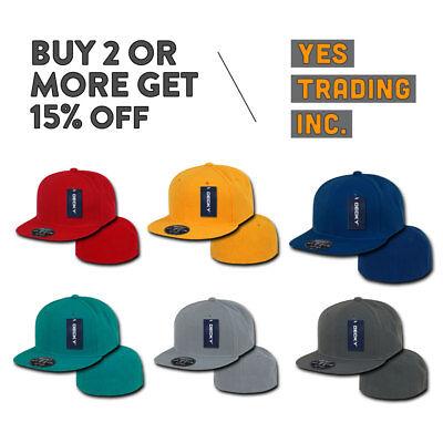 Flat Bill Baseball - DECKY MENS CASUAL BASEBALL HAT RETRO FLAT BILL HATS FITTED CAP PLAIN CAPS COLORS