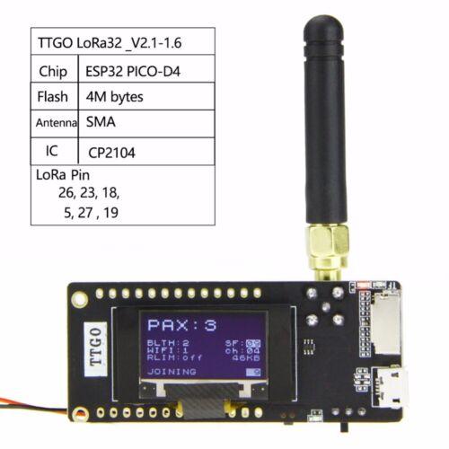 TTGO ESP32 - Paxcounter LoRa32 V2.1 433/868/915Mhz LoRa OLED 0.96 Inch SD Card