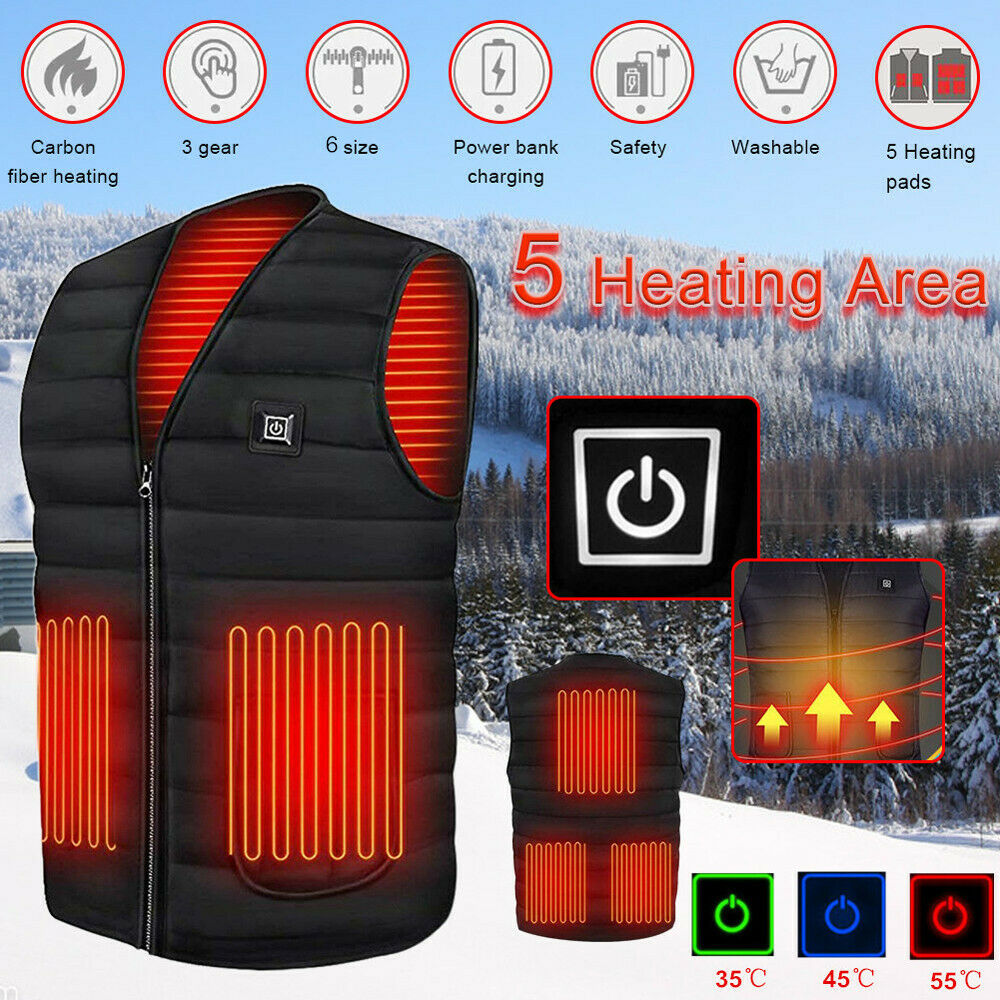 Heated Vest Warm Winter Warm Electric USB Jacket Men Women Heating Coat Thermal Clothing, Shoes & Accessories