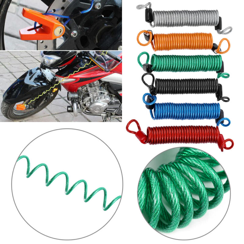 Scooter Accessories Alarm Disc Lock Security Anti Thief Spring Reminder Cable