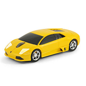 route souris lamborghini murcielago voiture souris d 39 ordinateur sans fil jaune ebay. Black Bedroom Furniture Sets. Home Design Ideas