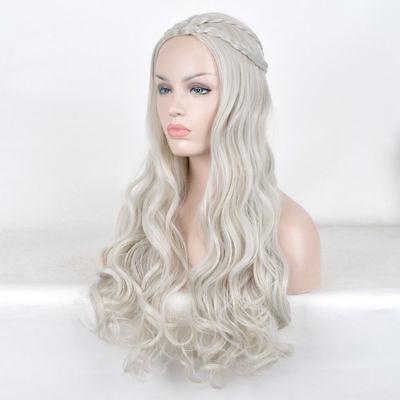 Khaleesi Mhysa wigs long platinum blonde silver curly Daenerys Targaryen wig](Finger Wave Wig)