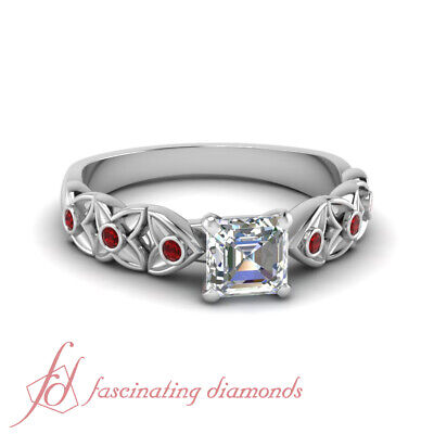 .70 Ct Bezel Set Flower Engagement Ring For Her With Asscher Diamond & Ruby GIA