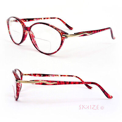 Bifocal Vision Cat Eye Tortoise Color Women's Reading Glasses - 150 Glass
