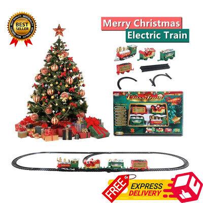 Christmas Electric Train Set Toys Decor Small Track Light Music Children Gift