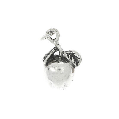 SILVER BIG SOLID APPLE FRUIT CHARM OR PENDANT