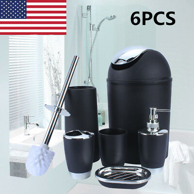 6PCS Bathroom Accessory Set Soap Dispenser Toothbrush Holder Bin Toilet (Soap Dispenser Set)