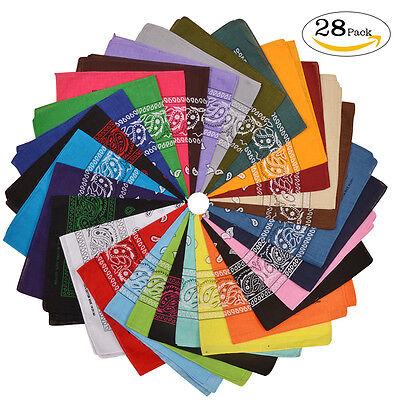 28pcs/lot 100% Cotton Bandana Cowboy Bandanas Mix Color Paisley Scarf Hair Wrap - Cowboy Bandanas