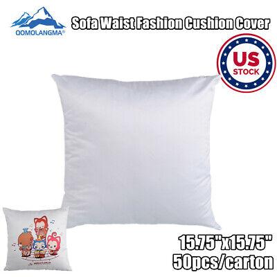 Us 50pc Sublimation Blank Throw Pillow Case Sofa Waist Fashion Cushion Cover Diy