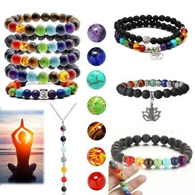 Multi-Style 7 Chakra Healing Beaded Bracelet Natural Lava Stone Bracelet Jewelry Beaded Gemstone Jewelry