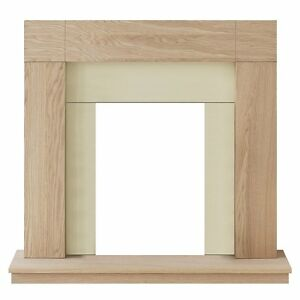 ELECTRIC CREAM BLACK WOOD OAK SMALL SURROUND MODERN WALL FIRE FIREPLACE SUITE