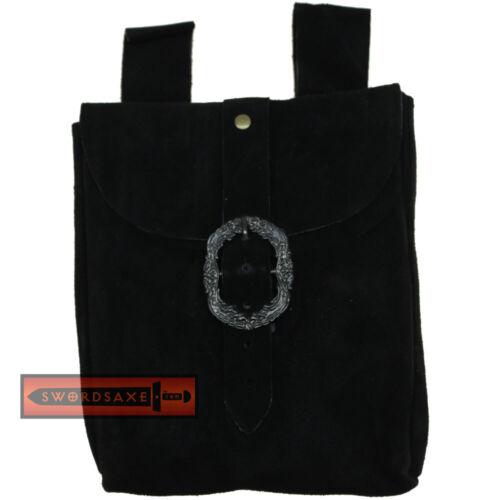 Medieval Belt Pouch Real Suede Leather Hip Purse Renaissance Noble Bag Black