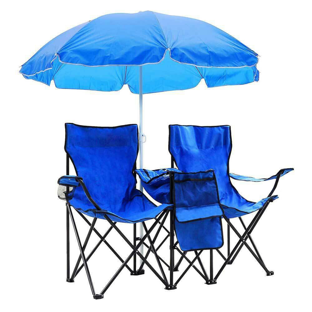 Portable Folding Picnic Beach Chair w/Umbrella Table Cooler
