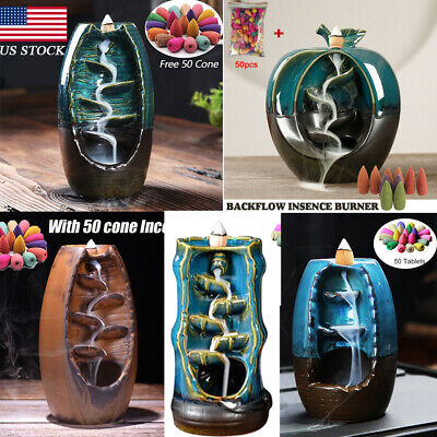 Ceramic Backflow Waterfall Smoke Incense Burner Censer + 50 Cones Best Gifts (Best Eco Friendly Toilets)
