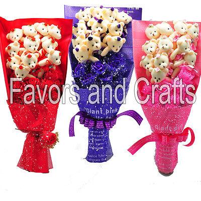 Silk Flower Teddy Bear Bouquet Valentines Day Gift Mothers Plush Centerpiece - Valentines Day Bears