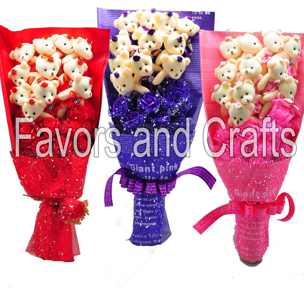 Silk Flower Teddy Bear Bouquet Valentine Gift Mothers Day...