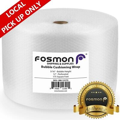 Fosmon 175FT x 12in x 3/16in Bubble + Cushion Wrap Perforated Mailing Pad Roll