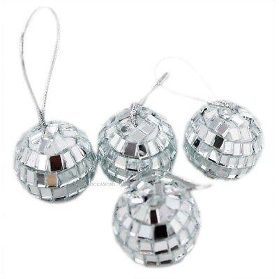 Silver Mini Disco Mirror Ball Xmas Tree Bauble Home Party Decorations Gift - Mini Mirror Balls