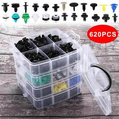 620 Pcs Car Retainer Bumper Clips Auto Fasteners Push Trim Clips Pin Rivet Kit