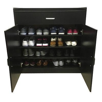 Black Shoe Storage Cabinet Rack Wooden Stand Sideboard Chest Drawer Redstone