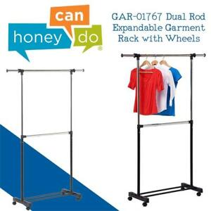 NEW Honey-Can-Do GAR-01767 Dual Rod Expandable Garment Rack with Wheels, Up to 73-Inch Condtion: New, Adjustable Dual...
