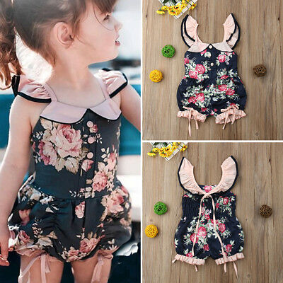 USA Flower Toddler Kids Baby Girl Summer Ruffle Romper Jumpsuit Outfits Clothes - Ruffle Girl Clothing