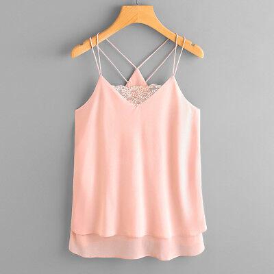 Women Casual Lace Chiffon Sleeveless Crop Vest Tank Shirt Blouse Cami Tops