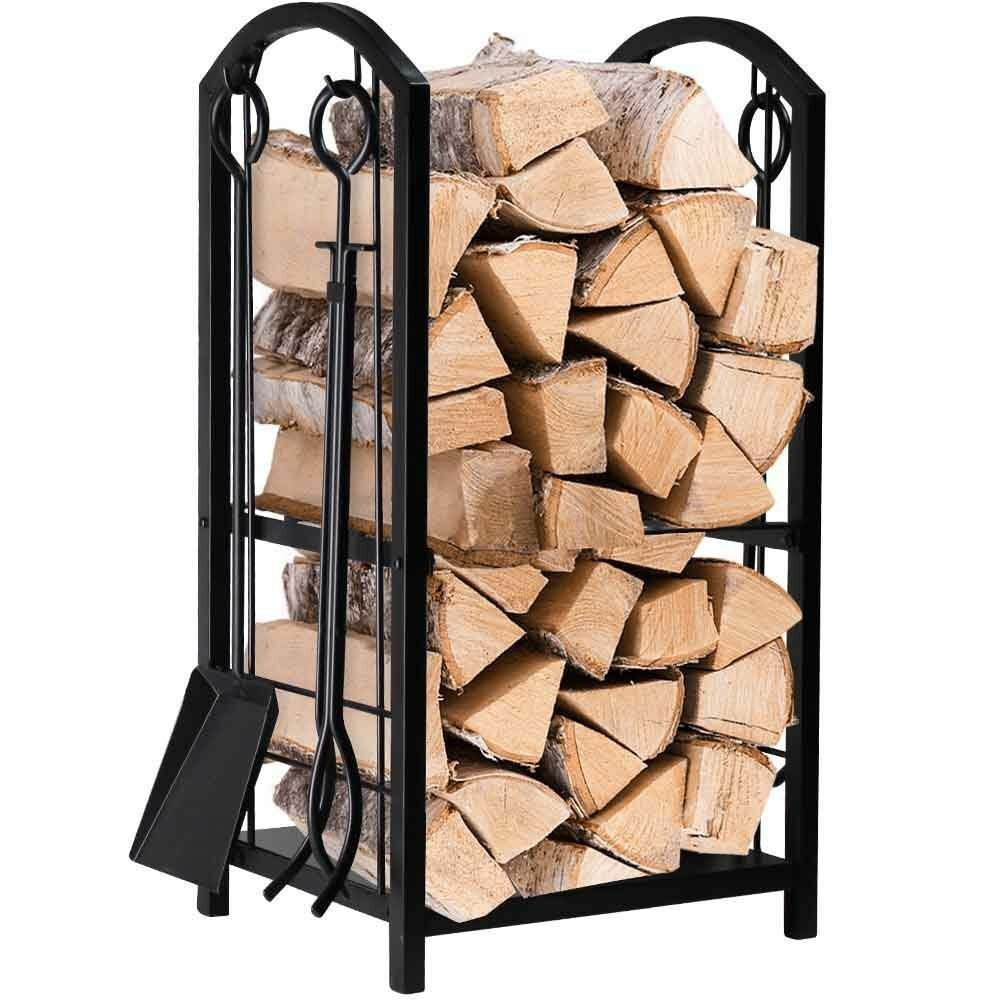 AMAGABELI GARDEN HOME logholder06 Fireplace Log Rack with 4