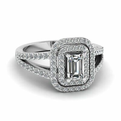 Emerald Cut Double Halo Split Shank Diamond Rings Pave Set For Women GIA 1.15 Ct