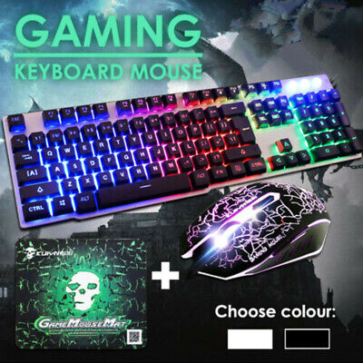 Gaming Keyboard and Mouse Rainbow LED USB Illuminated for PC Laptop PS4 Xbox