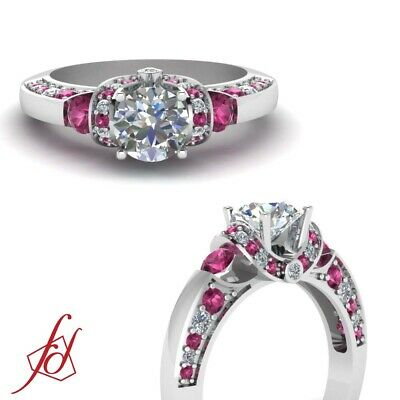 1.25 Ct Round Diamond And Pink Sapphire Gemstone Engagement Ring GIA Certified