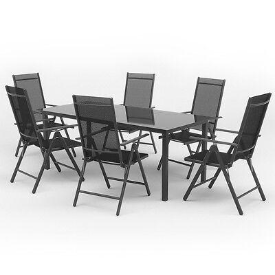 Alu Gartenmöbel 6+1 Sitzgruppe 190er Tisch Gartengarnitur Gartenset Sitzgarnitur