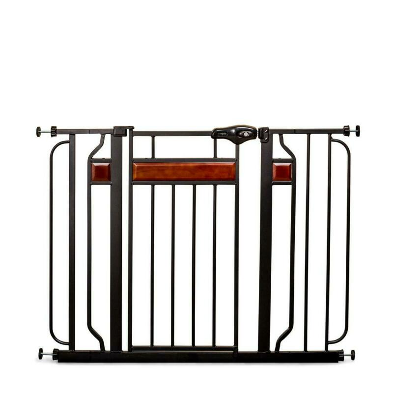 home accents 30 in. metal walk-through safety gate   extra wide baby thru regalo