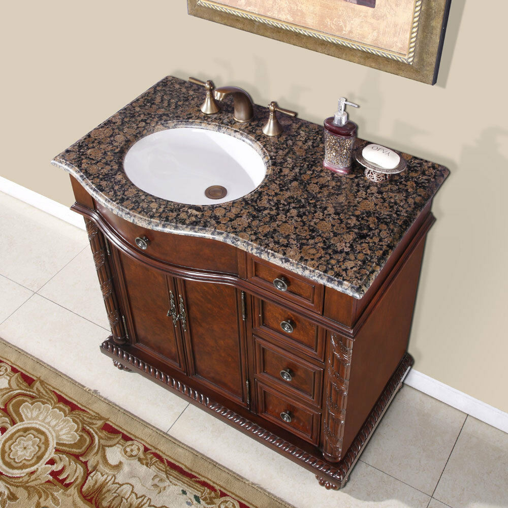 36-inch Granite Stone Top Off Center Sink Bathroom Single Vanity ...