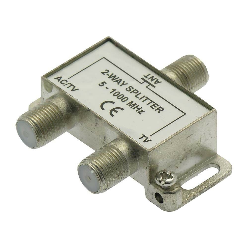 2-Way Coax/Coaxial Antenna RF Satellite Cable TV Signal Spli