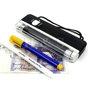 Fake Note Money Detector LED Torch Black Light Lamp Checker UV Tester Maker Pen