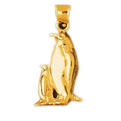 14k Yellow Gold MOTHER AND BABY PENGUIN Pendant / Charm, Made in USA 14k Gold Penguin Charm