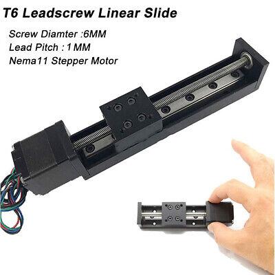 Mini Linear Sliding Table T6 Leadscrew Guide Rail Slide Stage Step Motor 2 4