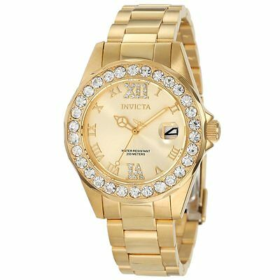 Invicta 15252 Women's Pro Diver Gold Dial Crystal Accented Watch